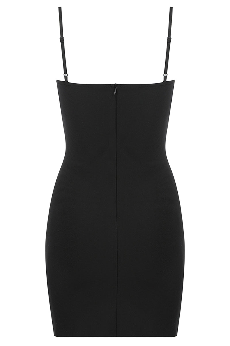 Sleeveless Mesh Sparkly Black Bodycon Bandage Dress - CHICIDA