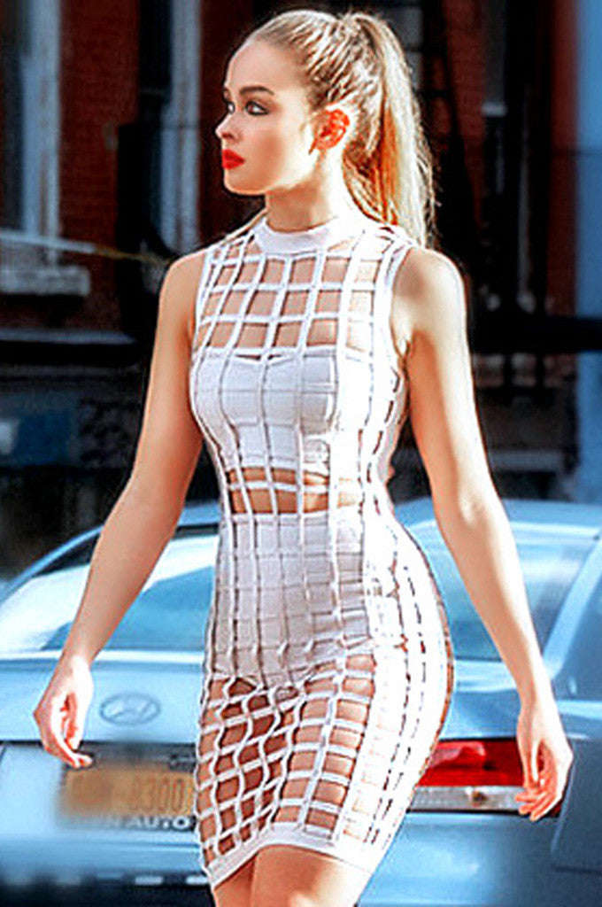 Hollow Out Bandage Dress With Shorties and Bustier - CHICIDA