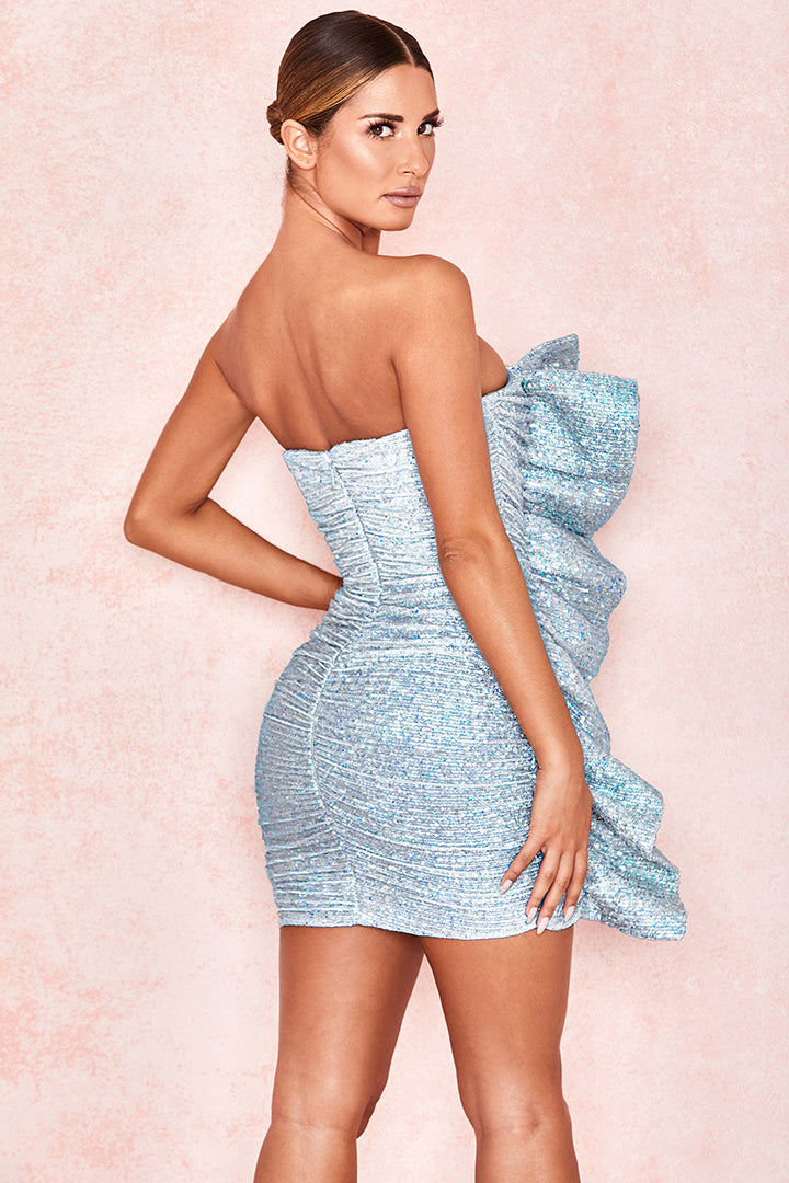 Holographic Silver Sequin Strapless Dress - CHICIDA