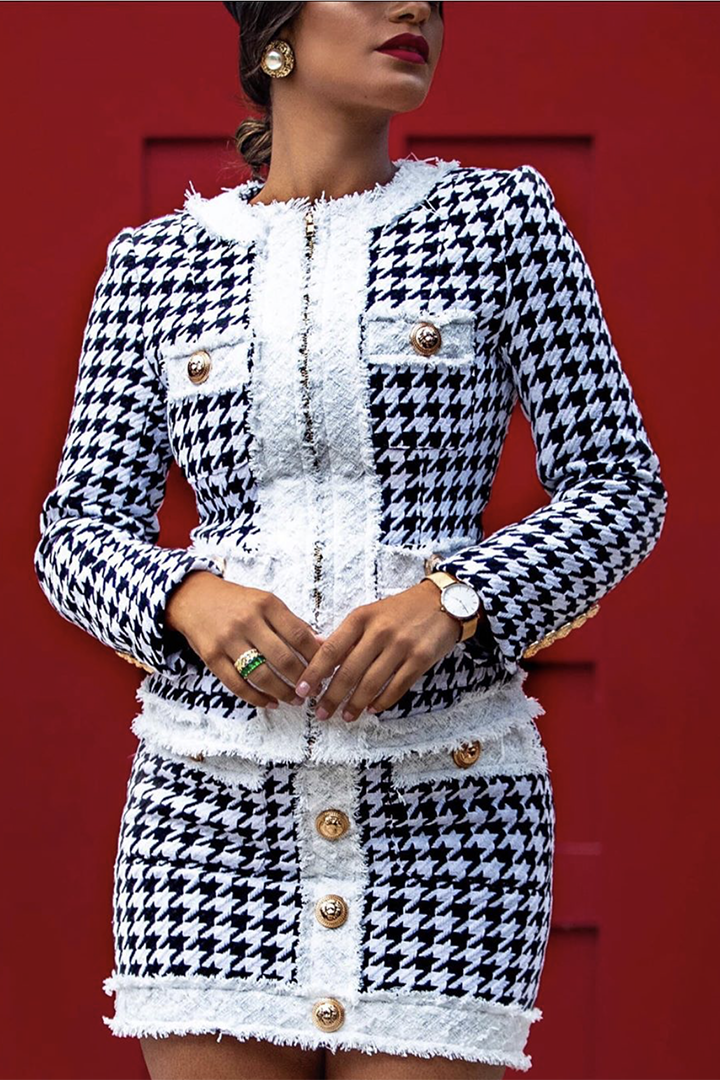 Houndstooth Two Piece Set Suits - CHICIDA