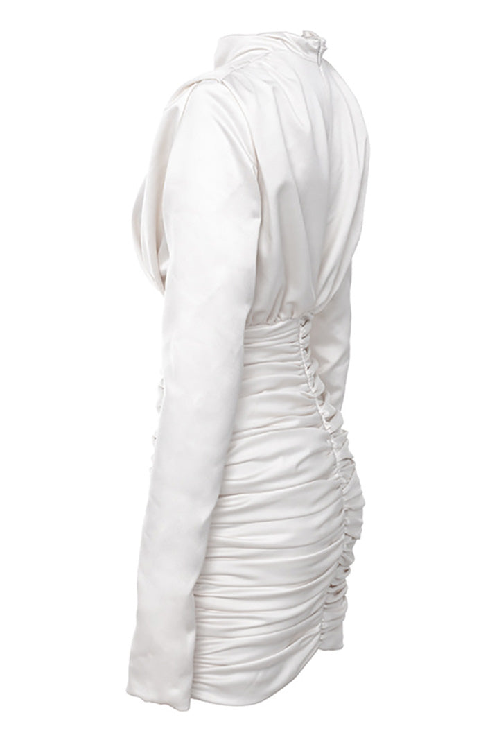 Ivory Satin Draped Mini Dress - CHICIDA