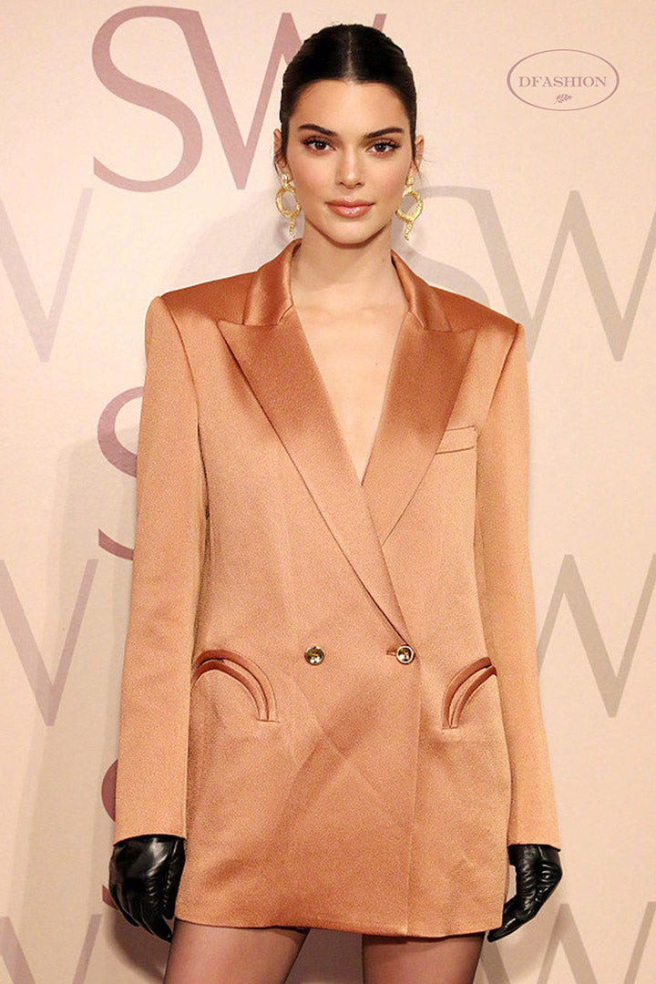 Kendall Jenner - Chic Copper V-neck Blazer