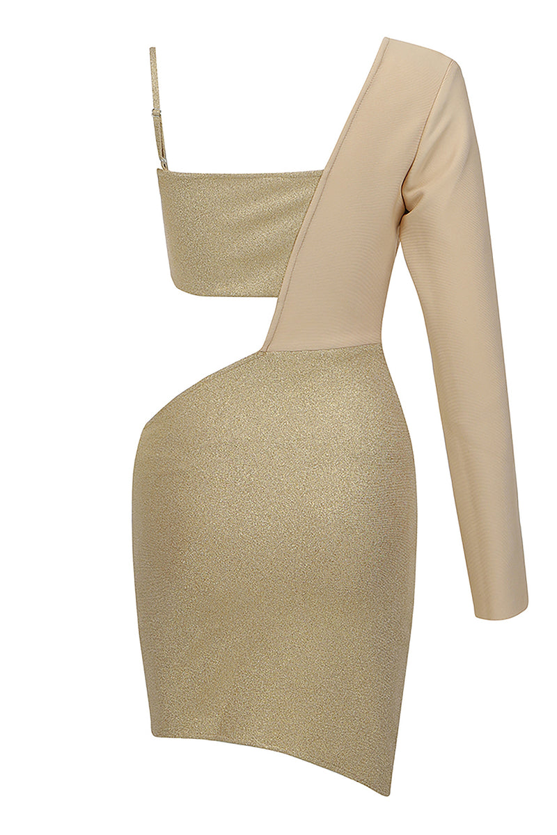 Khaki One-Shoulder Long-Sleeved Hollow Glitter Sparkly Bandage Dress