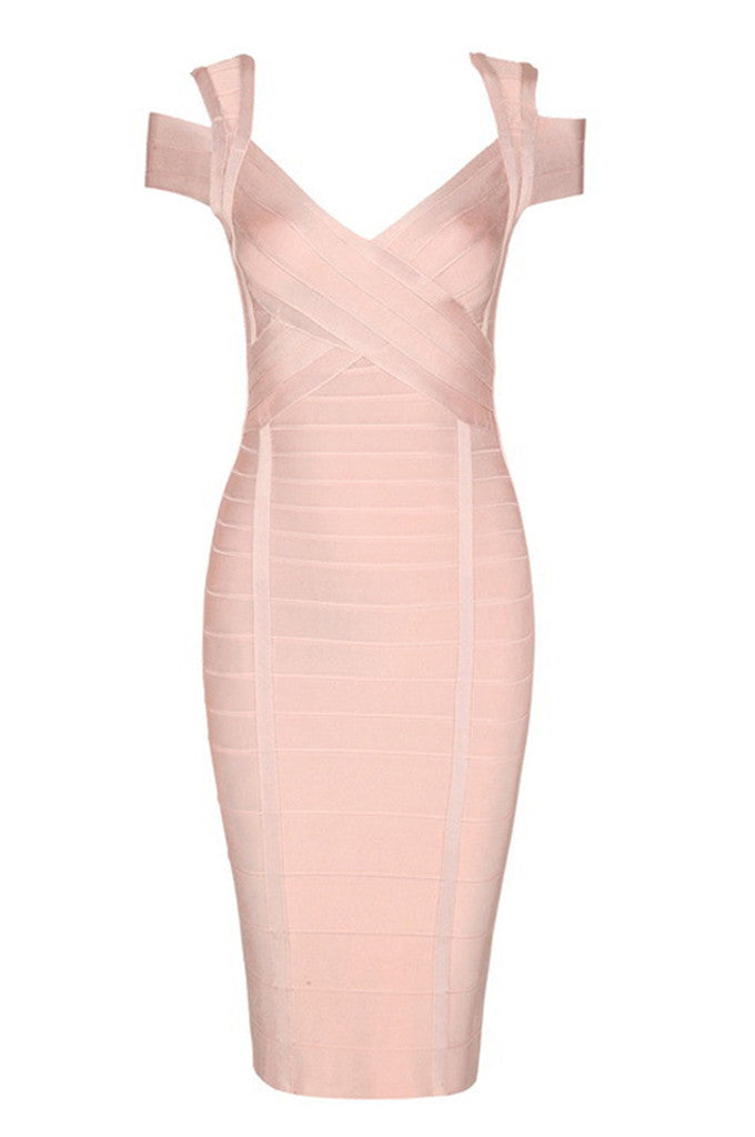 Off Shoulder Cross Backless Bandage Dress - CHICIDA