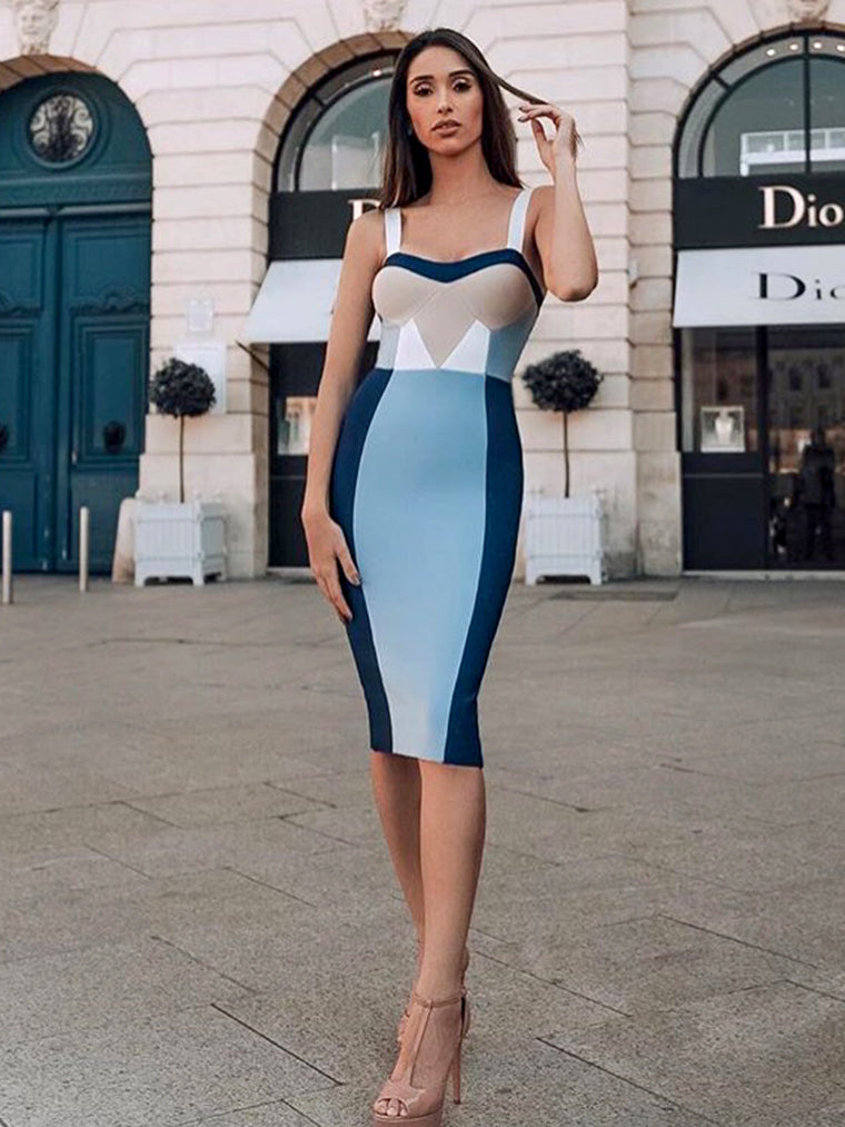 Khaki Blue Geometric Bandage Dress - CHICIDA