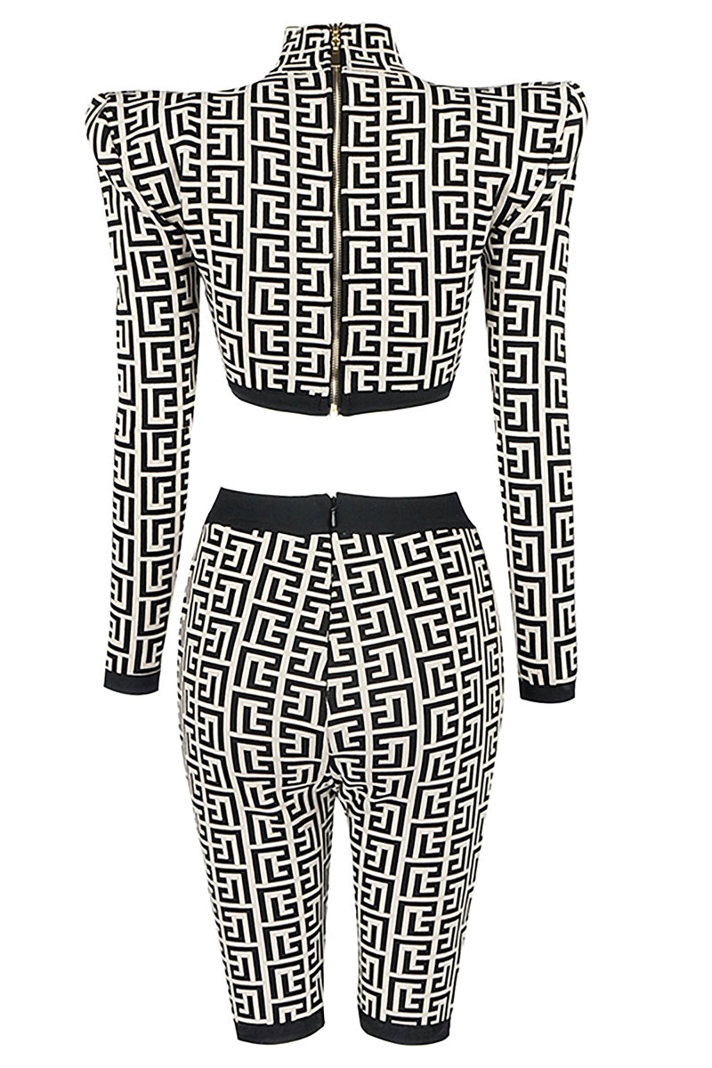 Kim Timeless Lines And Jacquard Two Pieces Bandage Set