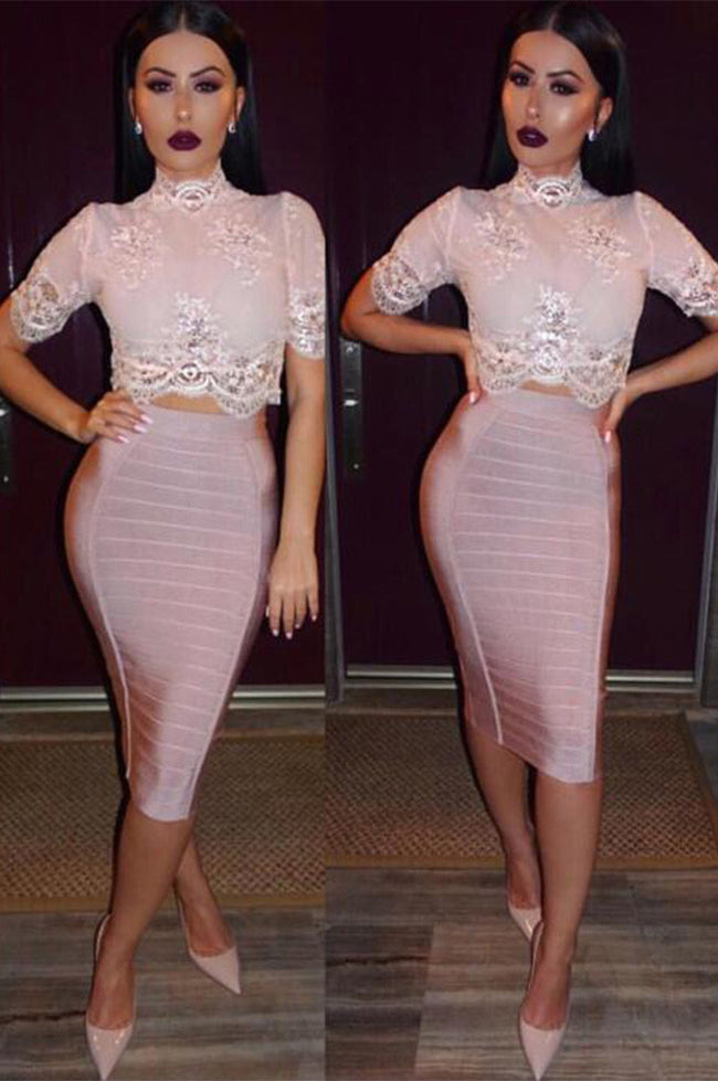 Bodycon Pencil Skirt Striped Bandage Skirts - CHICIDA