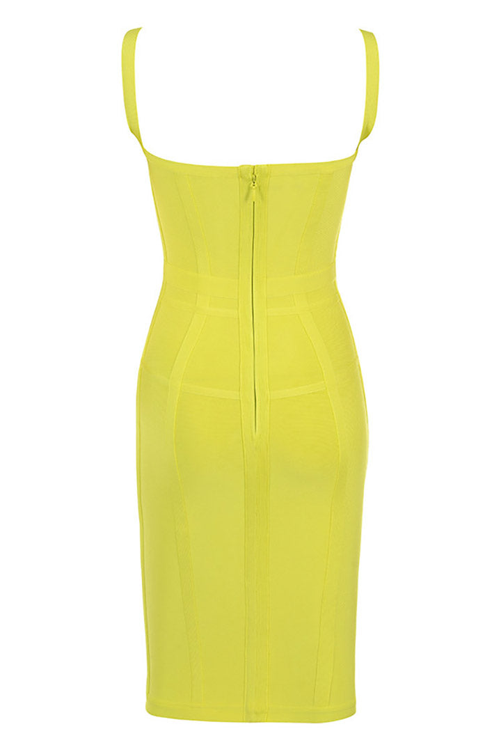 Lemon Corset Strappy Bandage Dress - CHICIDA