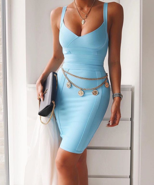 Light Blue Bandage Strappy Sleeveless Mini Dress - CHICIDA