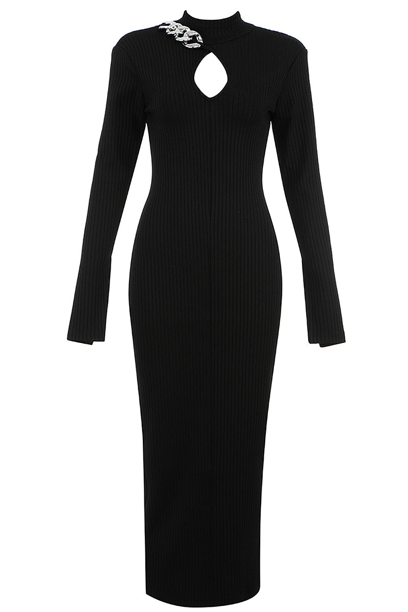 Long Sleeve Key Hole Chain Midi Bandage Dress