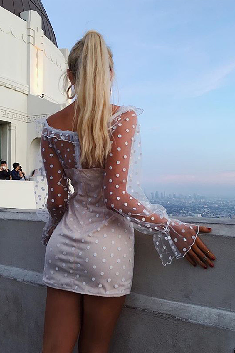 Printing Dots Cut Out Club Mini Lace Dress