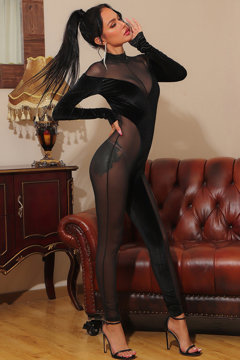 Long Sleeve Mesh Transparent Black Bodycon Jumpsuit