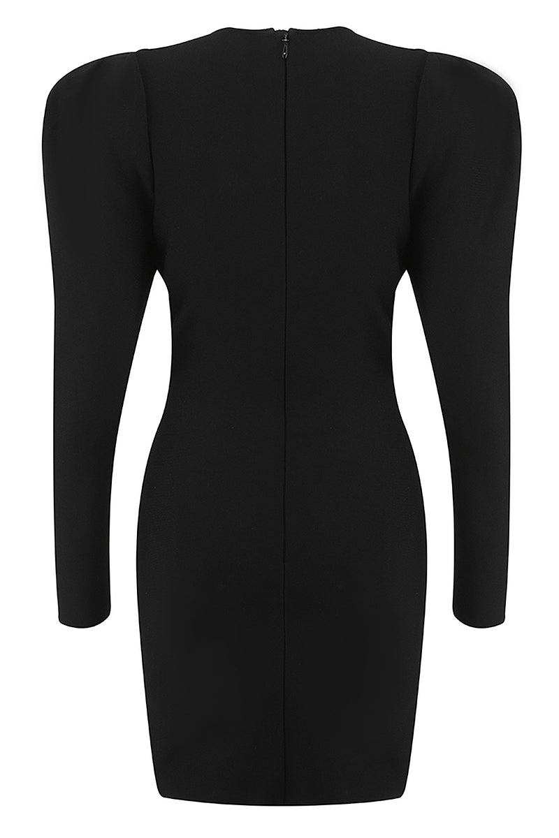 Long Sleeve Square Collar Black Mini Bandage Dress