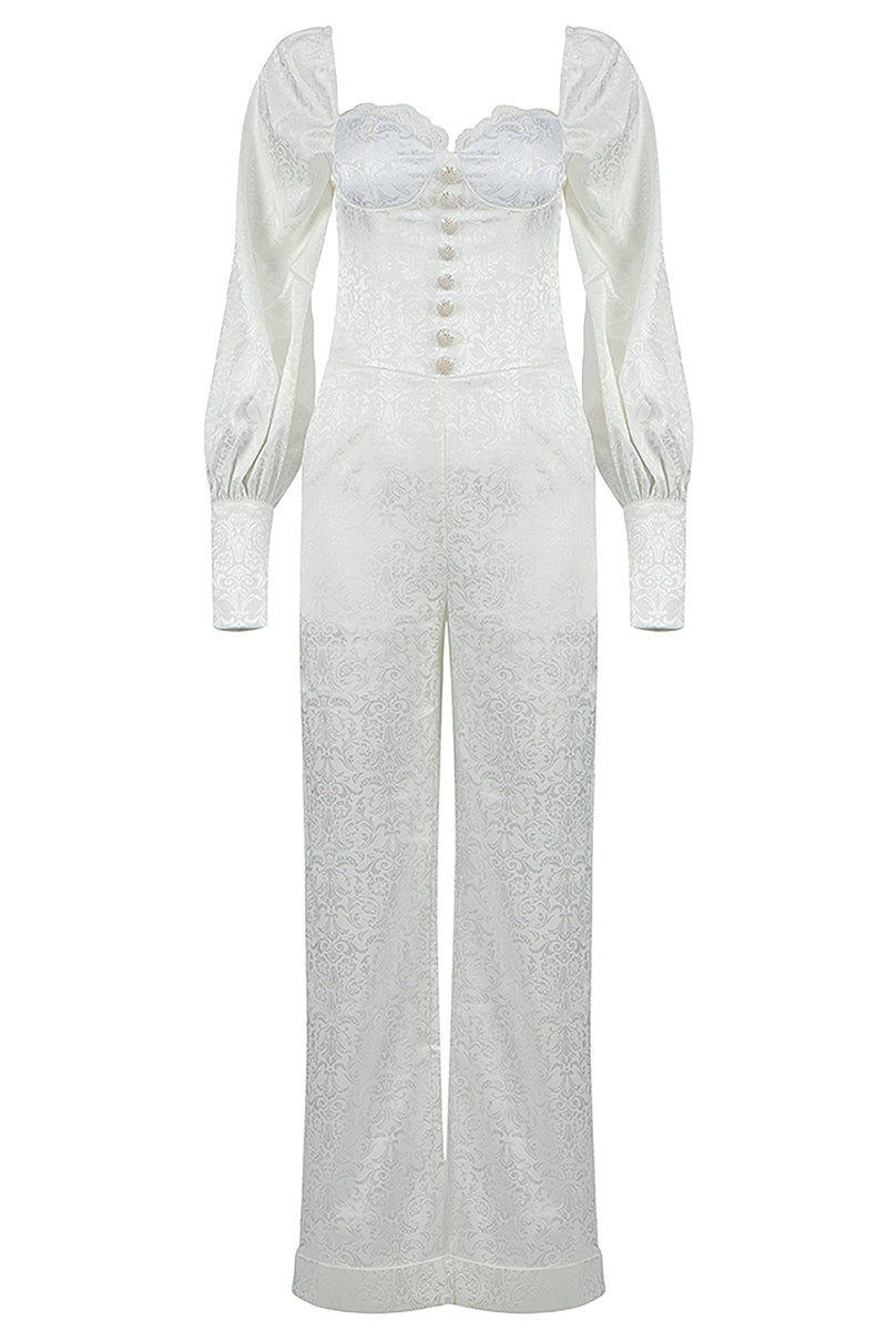 White Square Collar Full Sleeves Lace Button Jumpsuit
