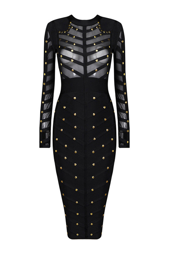 Long Sleeve Rivet beading Mesh Bandage Dress - CHICIDA