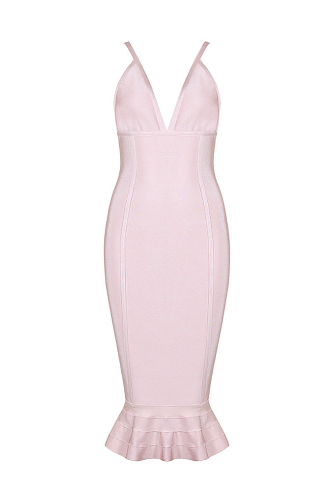 Sexy Deep V Spaghetti Strap Mermaid Bandage Dress - CHICIDA
