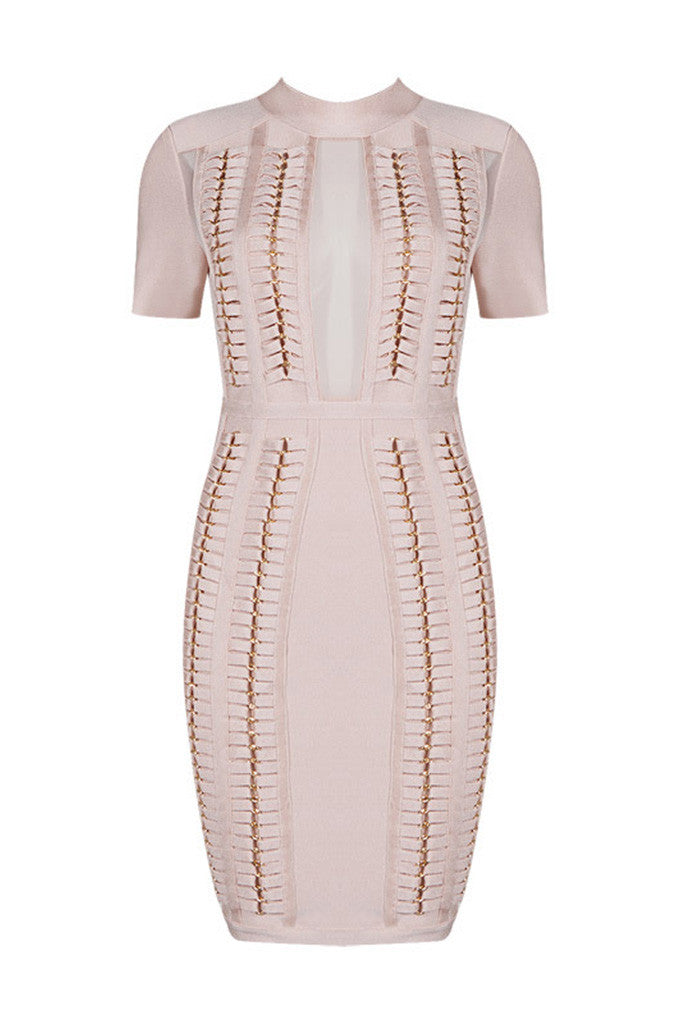Mesh Perspective Short Sleeve Bandage Dress - CHICIDA