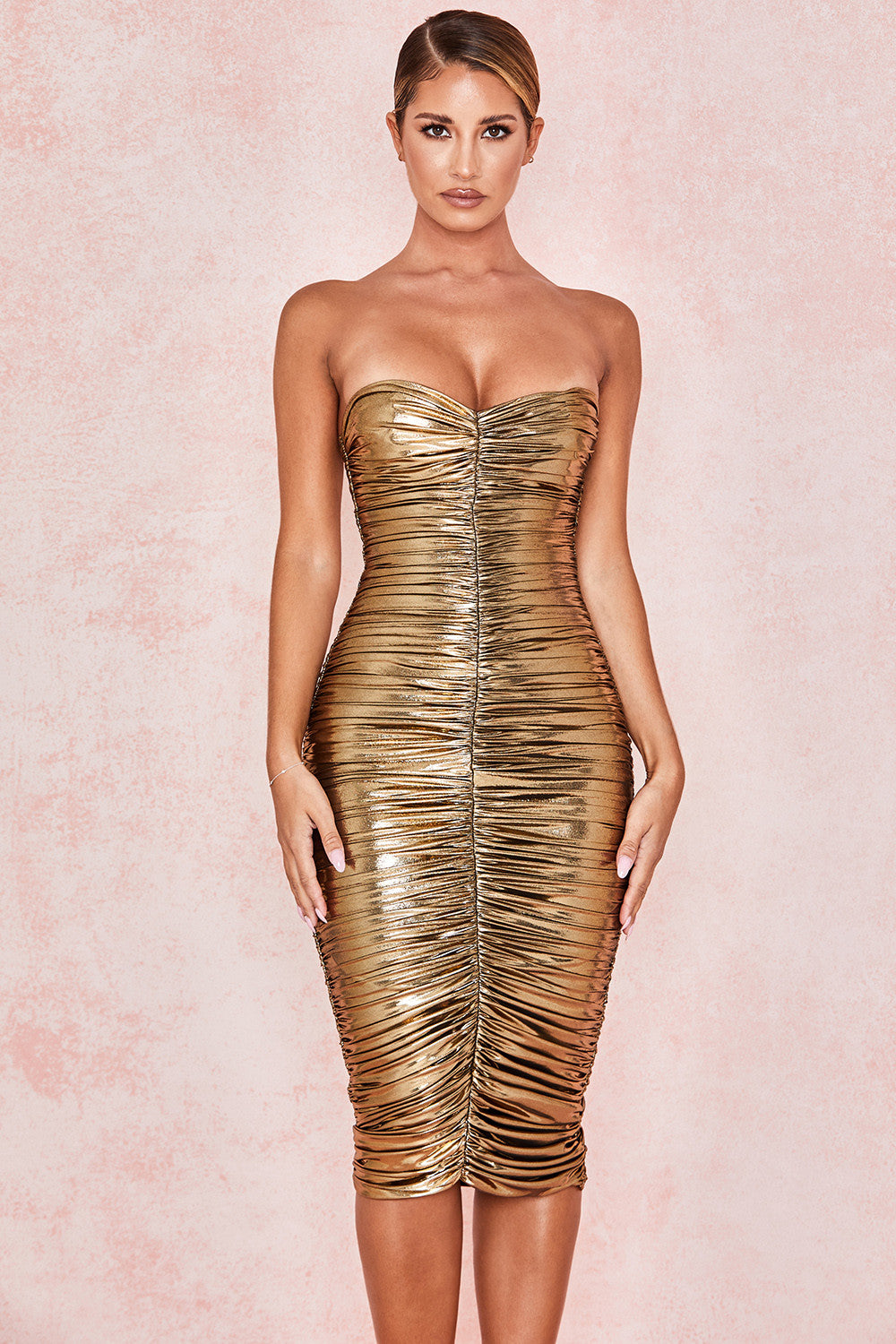 Metallic Gold Strapless Dress - CHICIDA