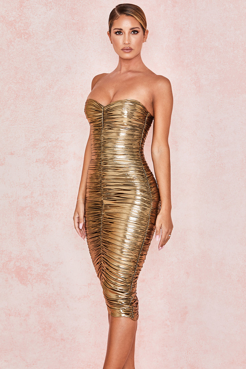 Metallic Gold Strapless Dress