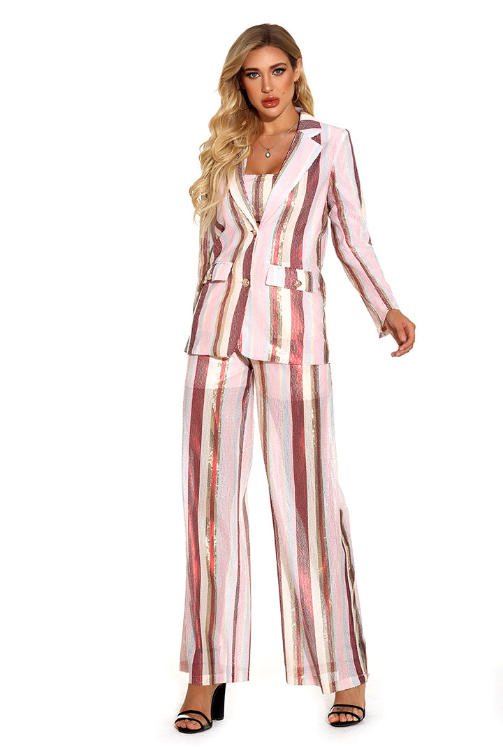 Multi Striped Sequins Suits Set - CHICIDA
