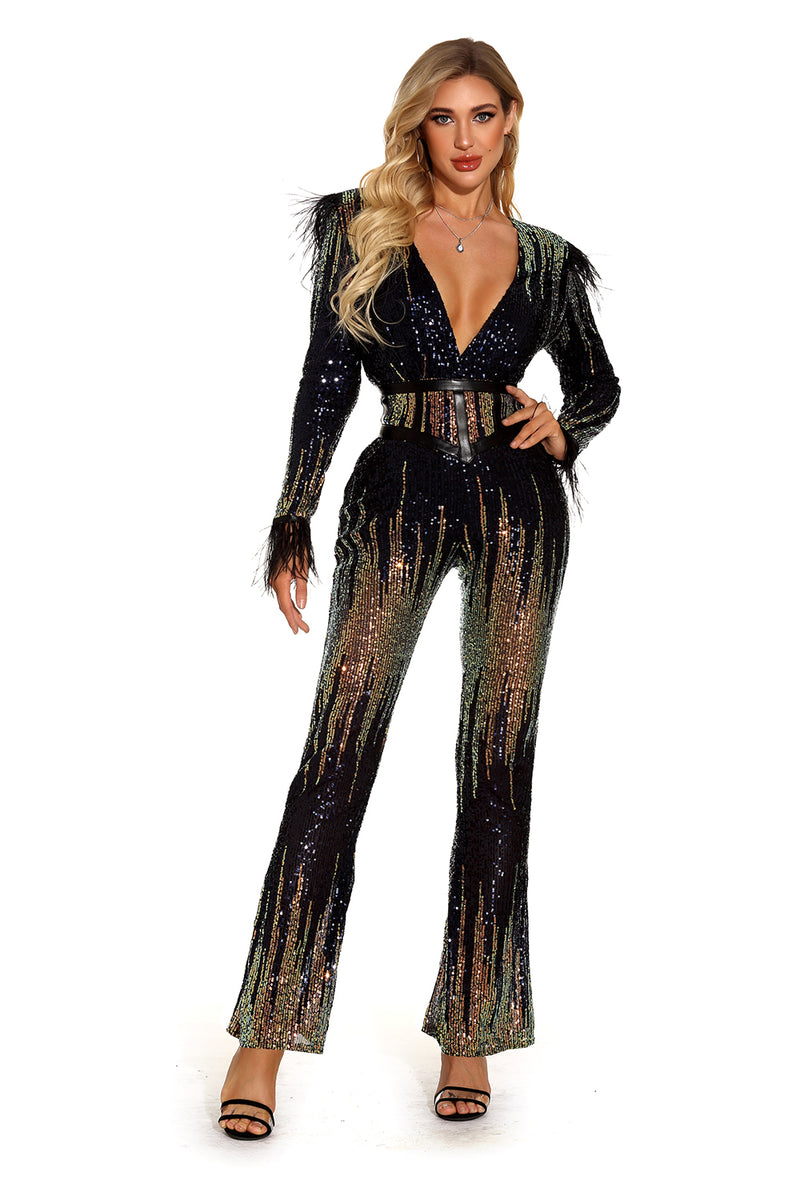 Multi V-Neck Sequins Jumpsuit - CHICIDA