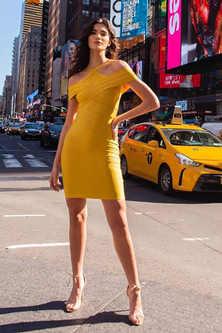 Mustard Halter Neck Bandage Dress