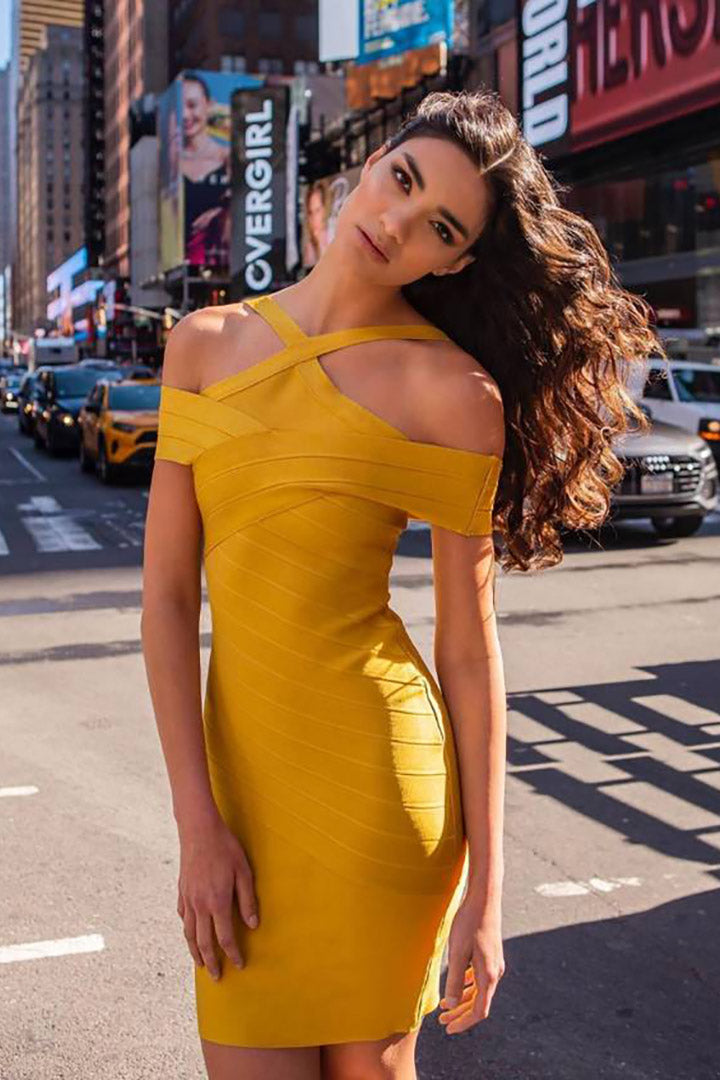 Mustard Halter Neck Bandage Dress - CHICIDA