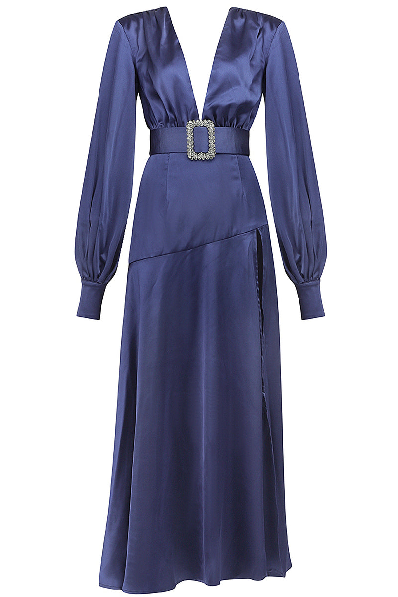 Navy Blue Deep V Lantern Long Sleeve A-Line Dress