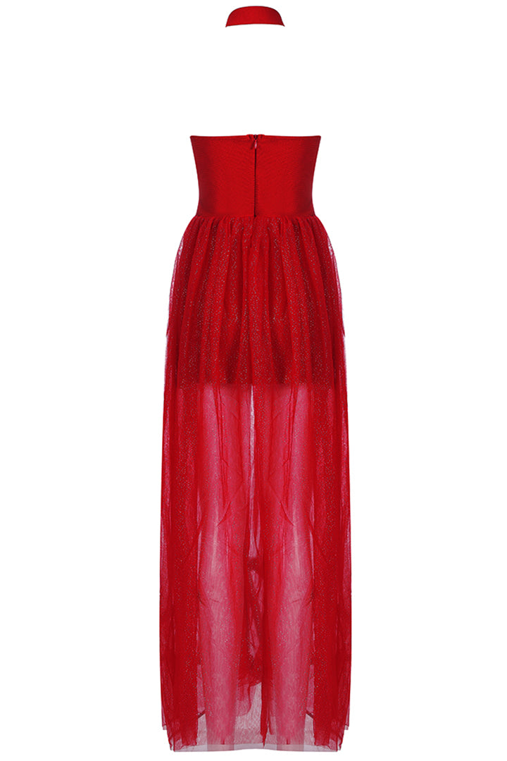 Red Halter Strappy Floor Length Sequined Gown - CHICIDA