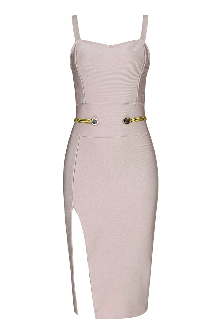 White Strappy Mid Calf Bandage Dress - CHICIDA