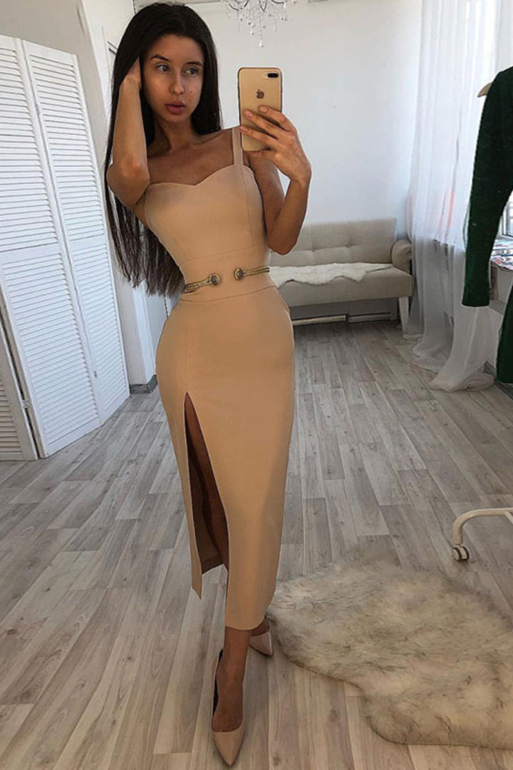 White Strappy Mid Calf Bandage Dress