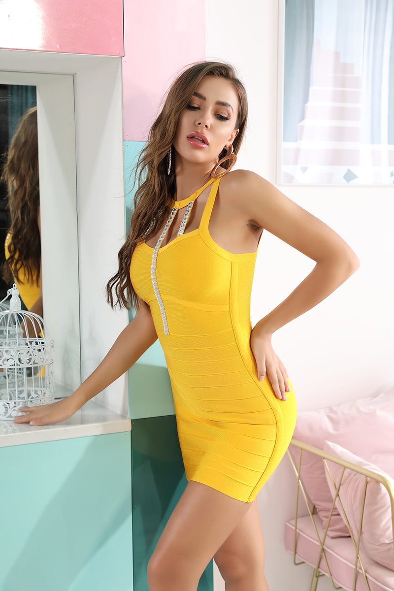 Spaghetti Strap Beaded Hollow Yellow Mini Bandage Dress