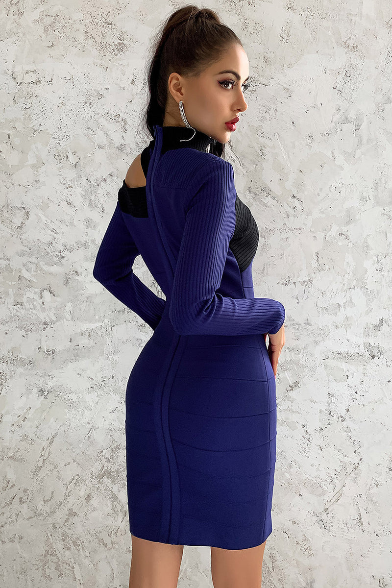 O-neck Long Sleeve Off Shoulder Blue Mini Hollow Bandage Dress