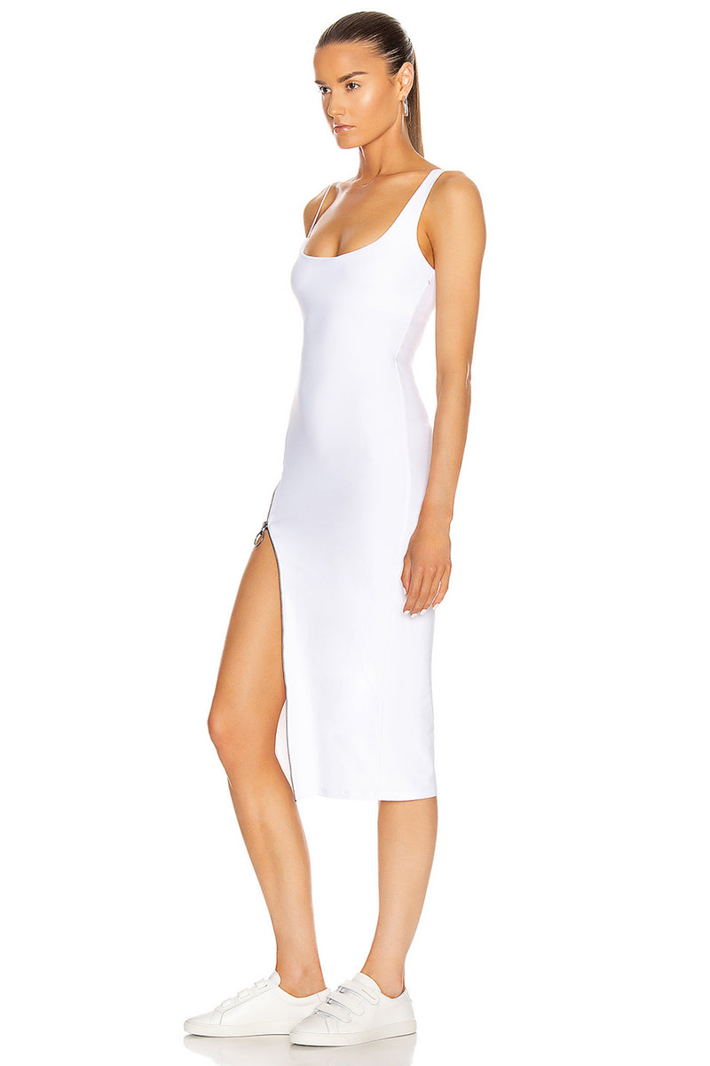 White O Neck Split Bodycon Bandage Dress