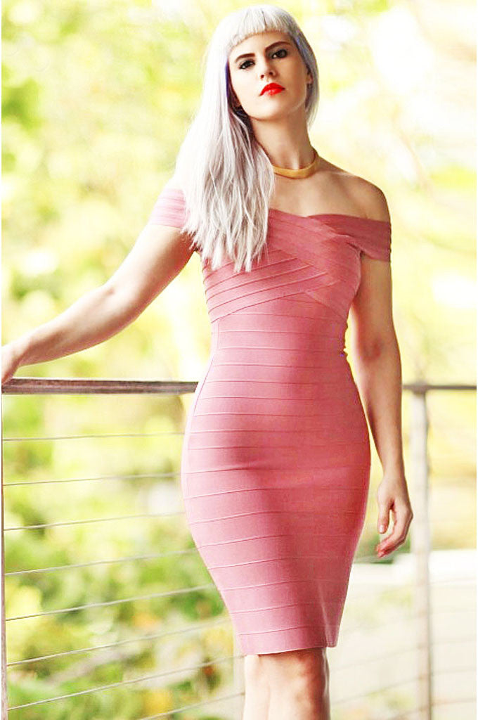 Off Shoulder Celebrity Pink Bandage Dress - CHICIDA
