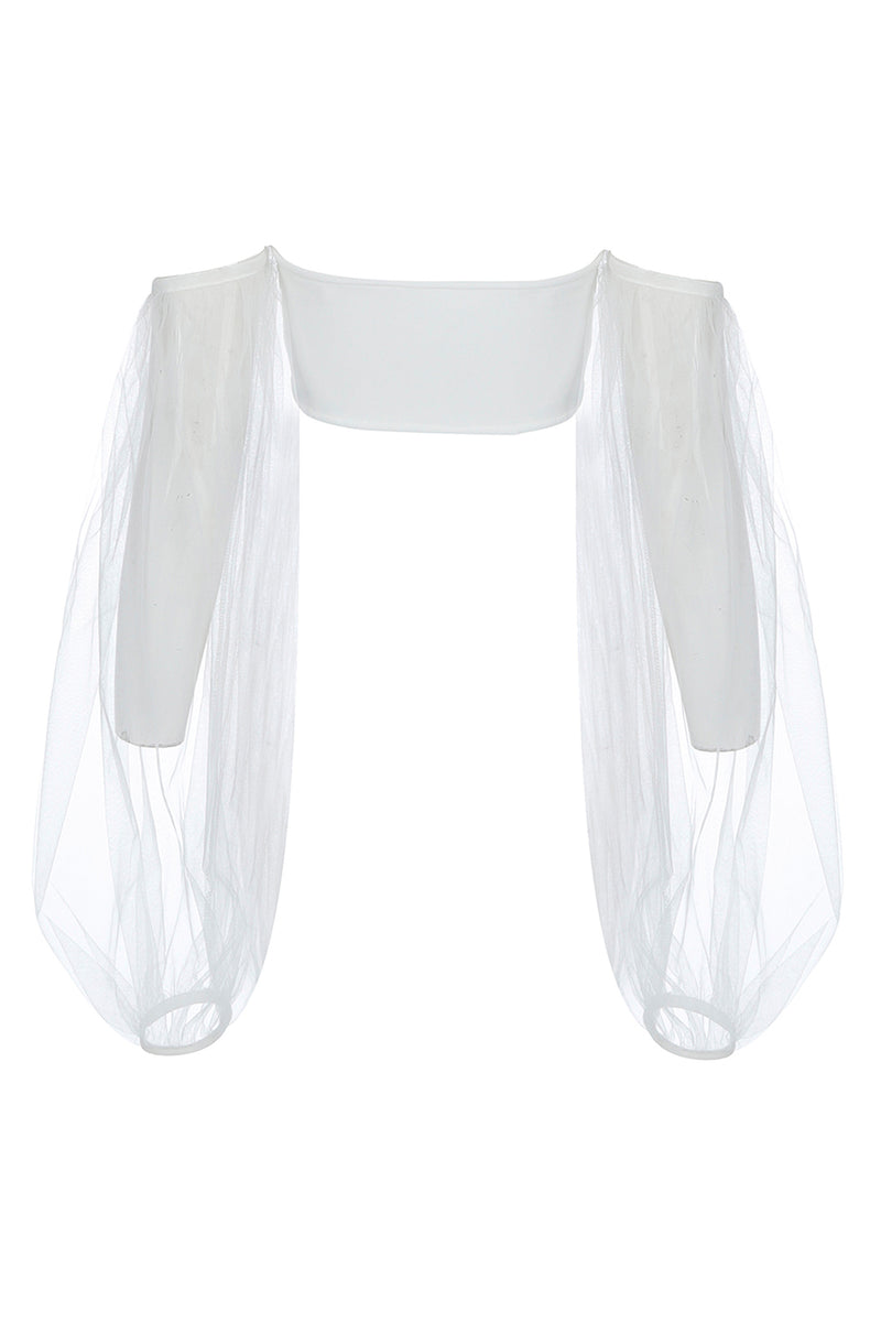 White Mesh See-through Bandage Short Top - CHICIDA