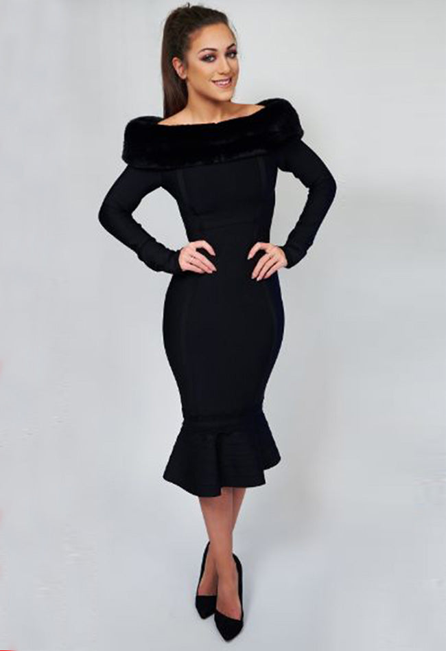 Long Sleeve Rivet beading Mesh Bandage Dress