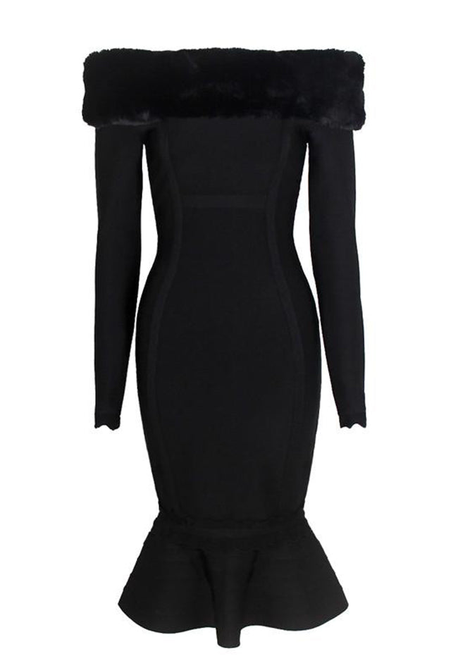 Fur Trim Mermaid Black Bandage Dress