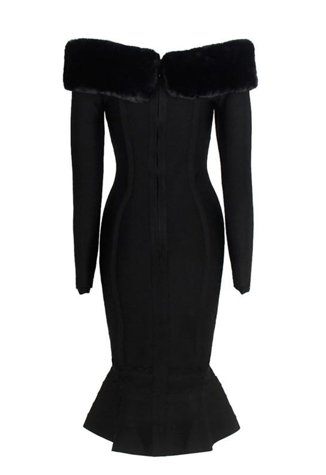 Fur Trim Mermaid Black Bandage Dress - CHICIDA