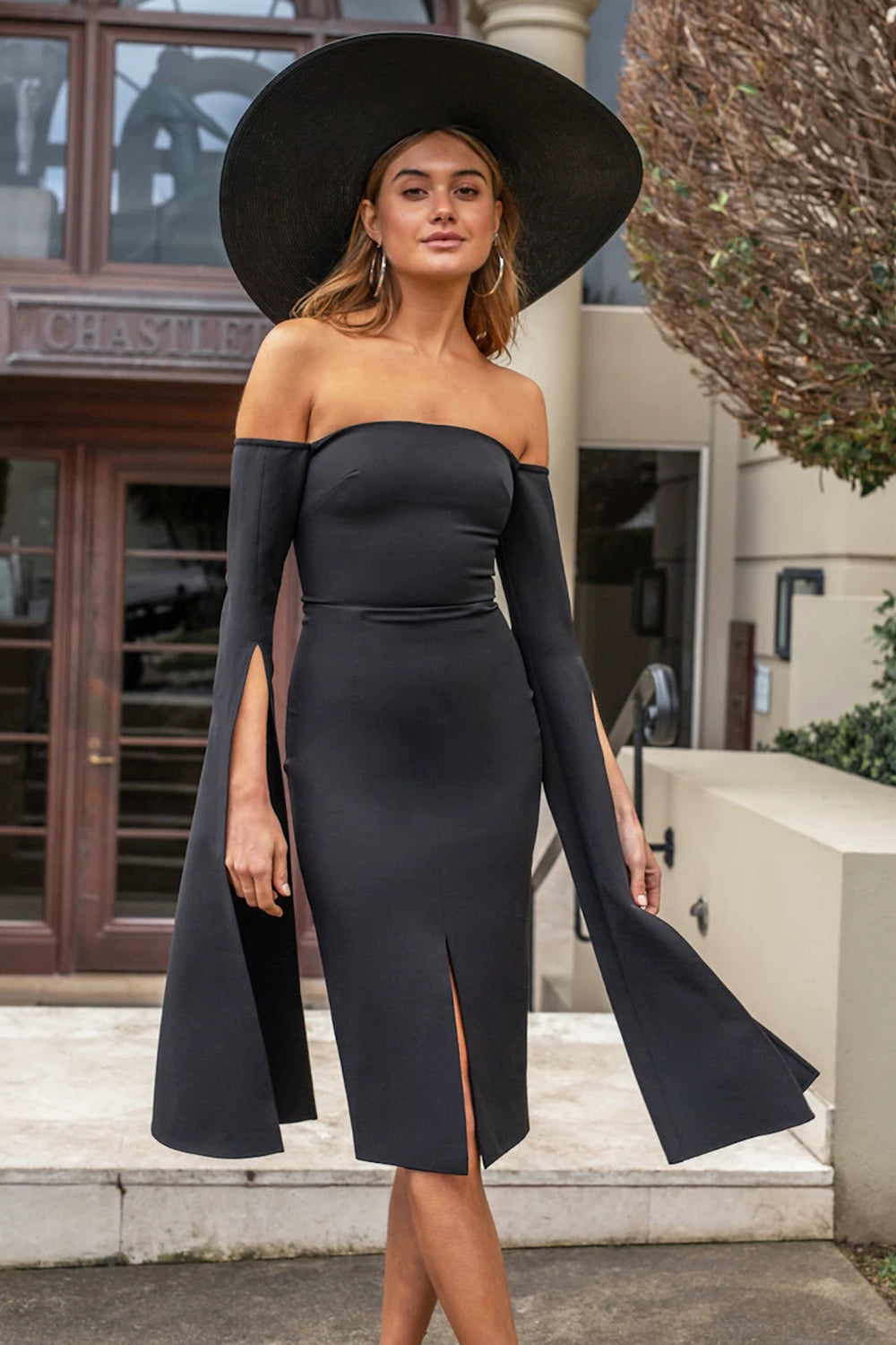 Off Shoulder Split Long Sleeve Midi Bandage Dress - CHICIDA