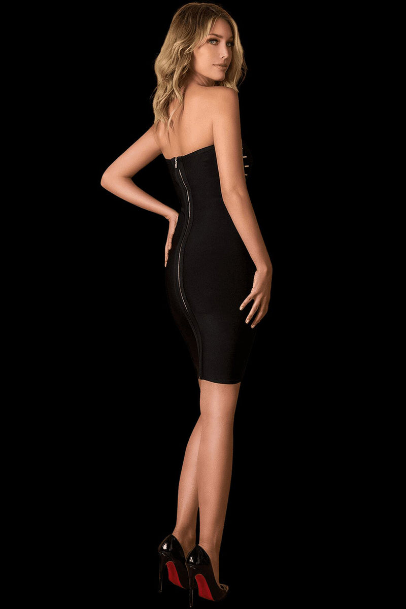 Off Shoulder Black Open Back Bandage Dress
