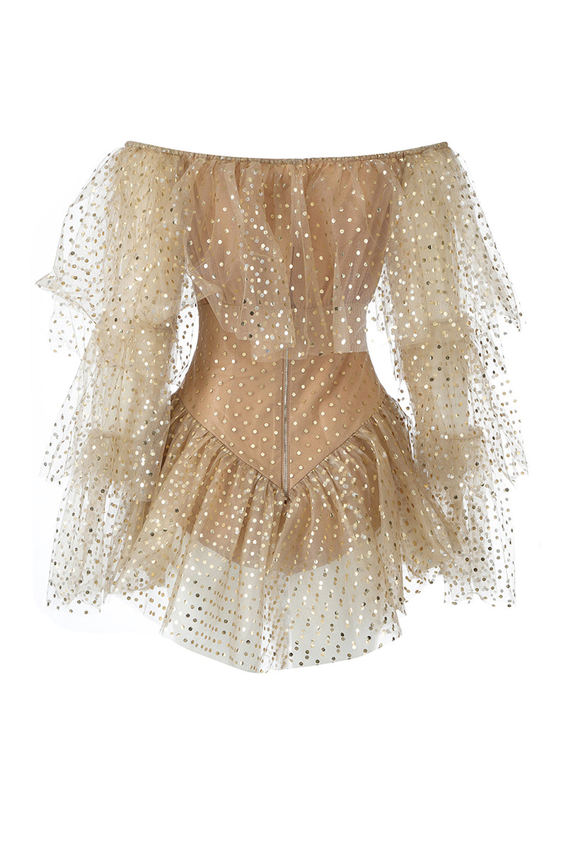 Off Shoulder Mesh Glitter Khaki Bodysuit