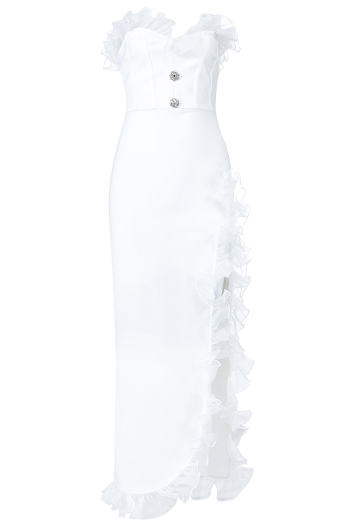 Off Shoulder Button High Slit Ruffles Sleeveless White Dress