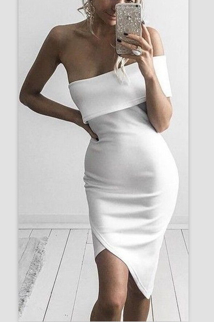 Cut Out One Shoulder Sexy Party Bandage Dress - CHICIDA