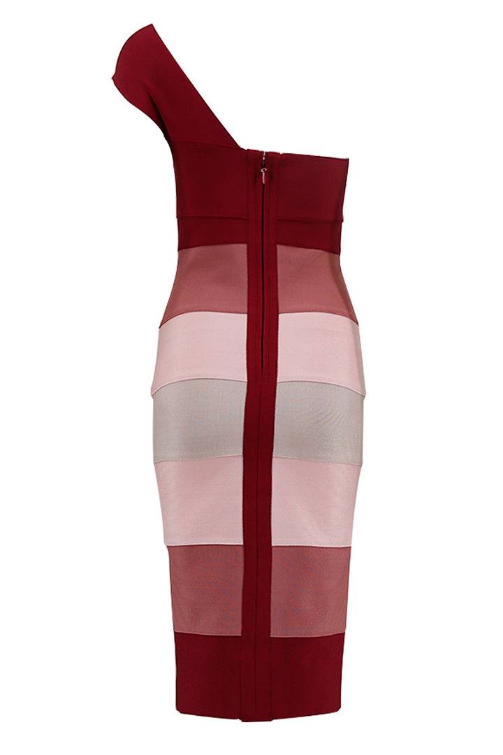 One Shoulder Multi Color Bandage Dress - CHICIDA