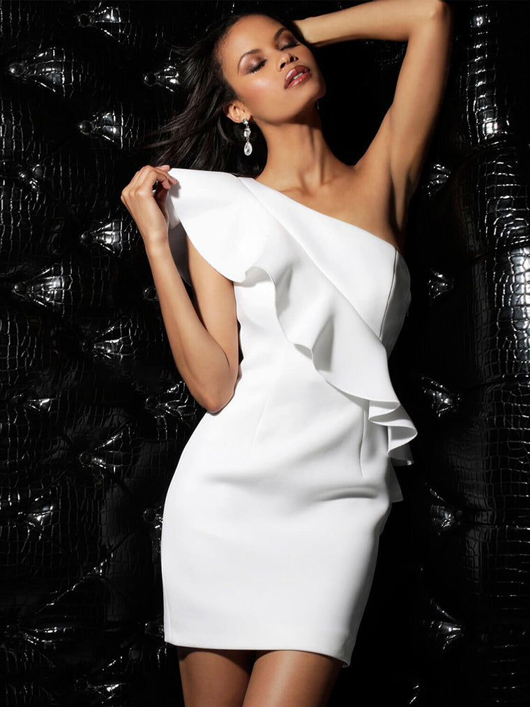 White One Shoulder Ruffles Bandage Dress - CHICIDA