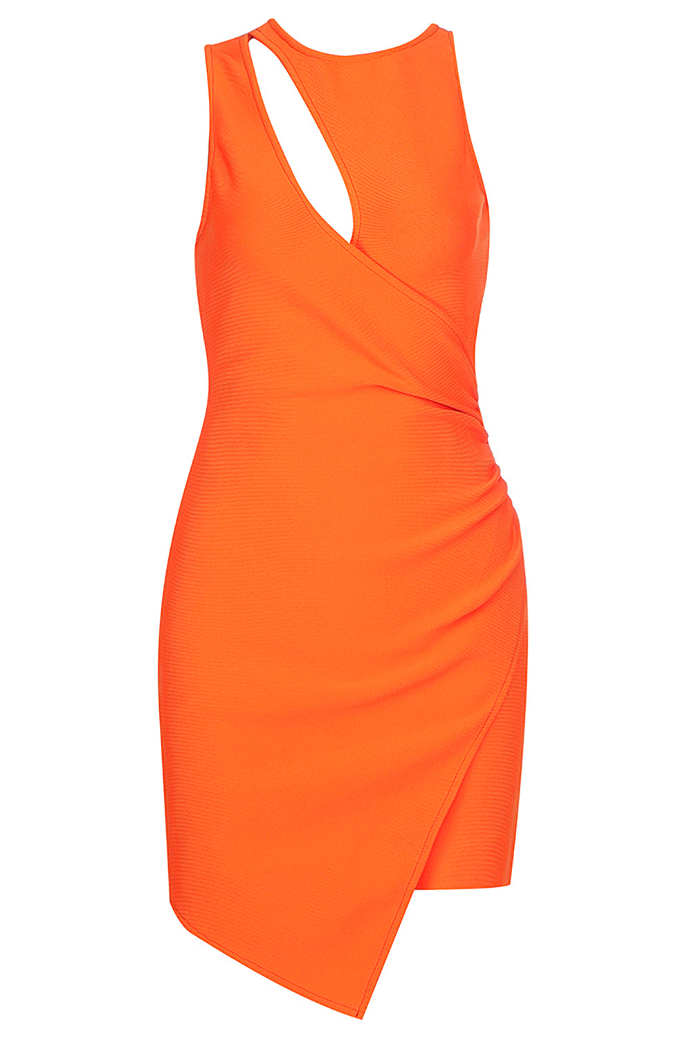 Orange O-Neck Hollow Bandage Mini Dress - CHICIDA