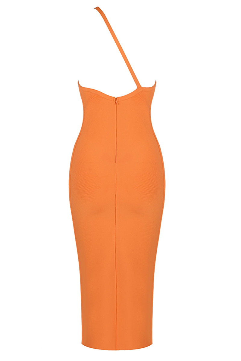 Orange One Shoulder Backless Bandage Bodycon Dress - CHICIDA