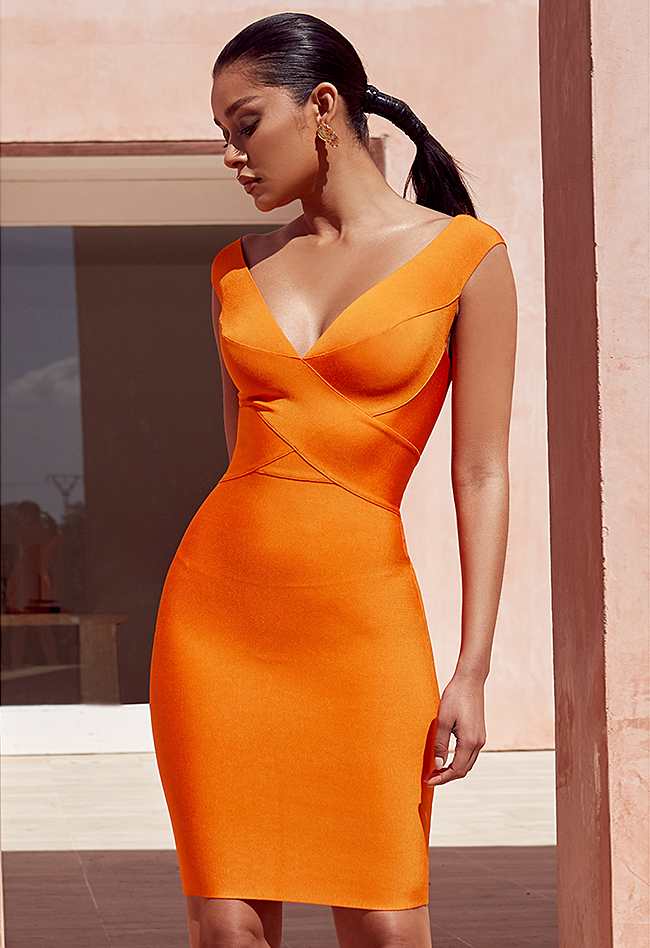 Orange Cross Front Bandage Dress - CHICIDA