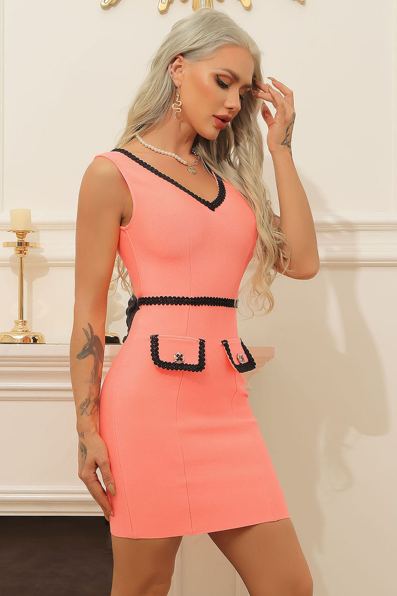 Pink Sleeveless V-Neck Black Lace Stitching Bandage Dress